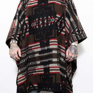 Brown Over Sized Poncho W/hood